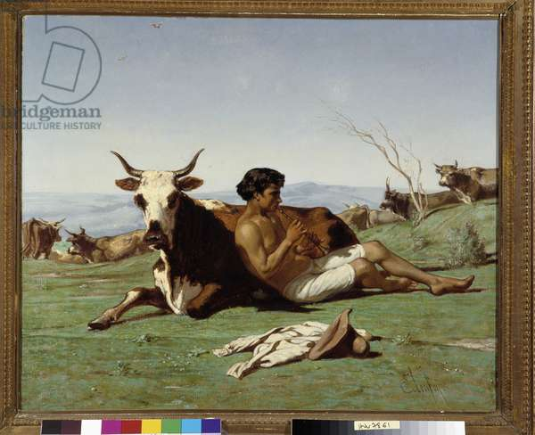 Young patre playing flute. Painting by Emile Loubon (1809-1863). Mandatory mention: Collection fondation regards de Provence, Marseille