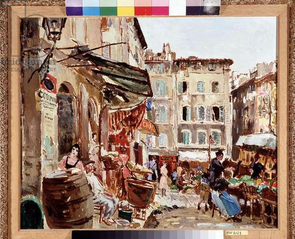 Le marche place de Lenche a Marseille Painting by Marcel Leprin (1891-1933) Dim. 50x61 cm Mandatory mention: Collection foundation regards of Provence, Marseille
