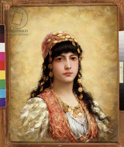 """Orientalism: """""""" Oriental Girl"""""""" She is wearing a scarf and a necklace of gold medals. Painting by Emile Eisman Semenowski (died 1911) 1888 Dim. 36,5x27 cm Mandatory mention: Collection fondation regards de Provence, Marseille"""