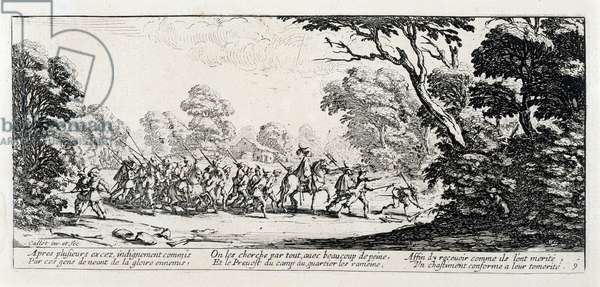 """Series """"The Miseries and the Miseries of War"""" (also known as """"The Great Miseries of War"""") evoking the Thirty-Year War: The Discovery of the Criminals. Engraving on paper by Jacques Callot (1592-1635), 1633. Dim: 8,4x18,8cm. Private Collection"""