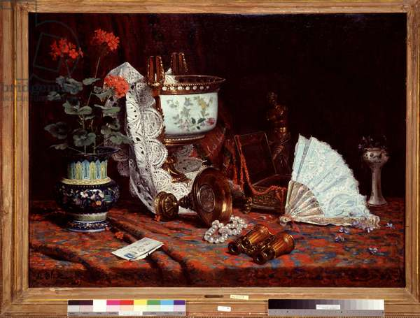Still life has the fan Table covered with a vase, pot of geraniums, binoculars. Painting by Jean Baptiste Olive (1848-1936) 20th century Sun. 85x115 cm Mandatory mention: Collection fondation regards de provence, Marseille