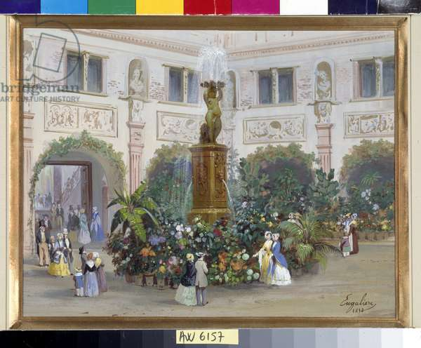 Flowered fountain with the Provencals on Sundays Watercolour by Mairus Engaliere (1824-1857) 1850 Mandatory mention: Collection fondation regards de Provence, Marseille