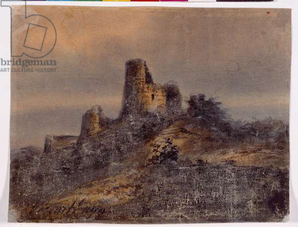 Ruins of a Medieval Chateau (oil on paper)