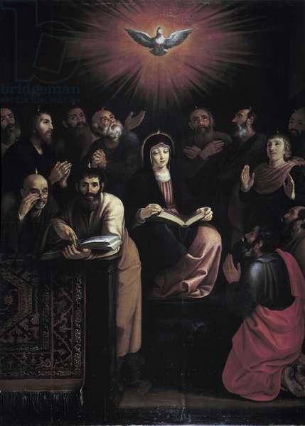 Pentecote. Painting by William Ernest Greve 1620 Oil on canvas cm 320x230 Church Saint Agricol Avignon