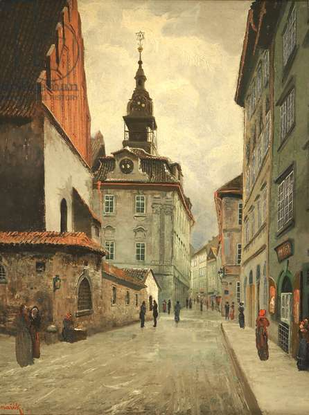 Prague, the capital of the Czech Republic, crossed by the river Vltava or Moldau in German. 1,295,000 inhabitants. Baroque City Jewish Museum in Prague, drawing by Jan MINARIK (1862-1937), the Old New Synagogue and the Jewish Town-Hall. 1910