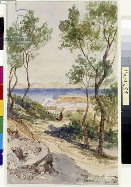 La plage des Catalans à Marseille Watercolour by Berthe Rozand (19th century) 1861 Mandatory mention: Collection fondation regards de Provence, Marseille