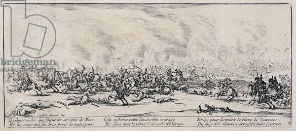 """Series """"The Miseries and the Miseries of War"""" (also called """"The Great Miseries of War"""") evoking the Thirty Year War: The Battle. Engraving on paper by Jacques Callot (1592-1635), 1633. Dim: 8,3x18,8cm. Private Collection"""