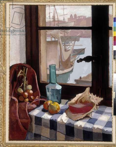 Nature morte a la fenetre devant le port, 1908 (oil on canvas)