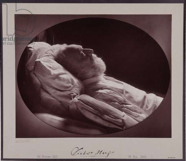 Victor Hugo on his deathbed, May 22, 1885. Nadar was the only photographer authorized to photograph Victor Hugo (1802-1885). Photograph by Gaspard Felix Tournachon dit Felix Nadar (1820-1910), 1885. Dim: 38x31cm.