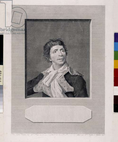 Portrait of Jean Paul Marat (1743-1793) - Test of the 2nd state (of 3) before the letter and address Engraving by Etienne Beizon by Joseph Boze (1745-1826) 1794 (Dim in cm 36,5x28) Private collection