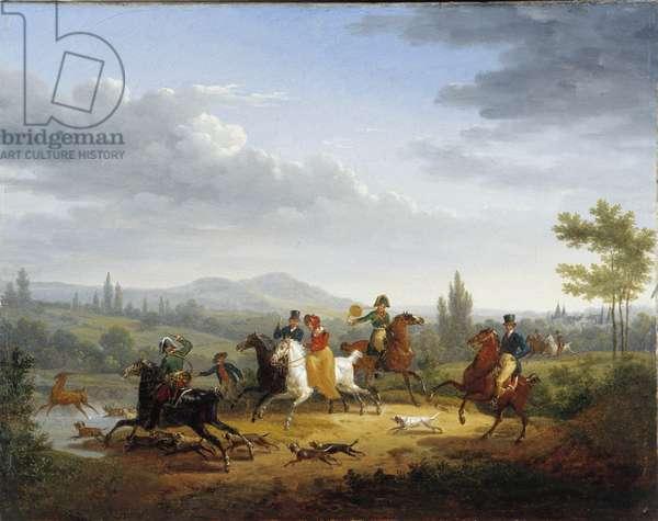 The deer hunt (oil on canvas)