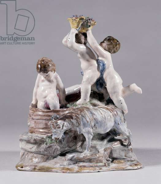 Statuary group of children harvesters - Table element with round putti - front Fabrique Gaspard Robert (1722-1799) Musee de la faience, Marseille