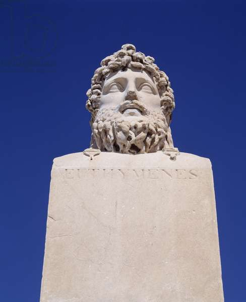 Representation of Euthymene, great Masaliot navigator of the 5th century BC (Massalia, Greek name of Marseille). Stone sculpture of Borely Castle Park, Borely Museum. Marseilles