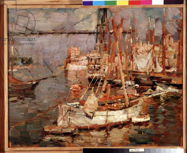 Boats in the port (oil on canvas)