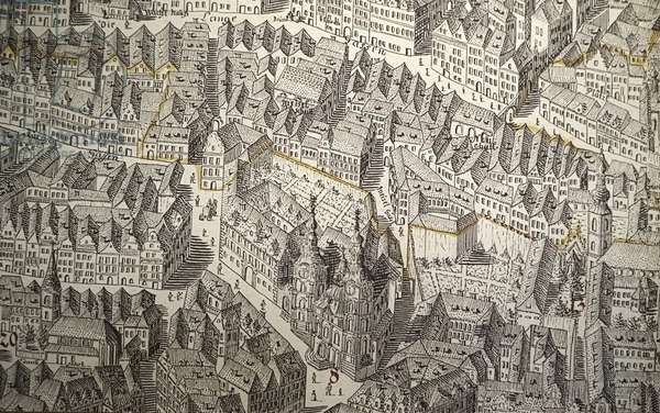 Prague, the capital of the Czech Republic, crossed by the river Vltava or Moldau in German. 1,295,000 inhabitants. Baroque City Jewish Museum in Prague, map of the old Jewish Quarter