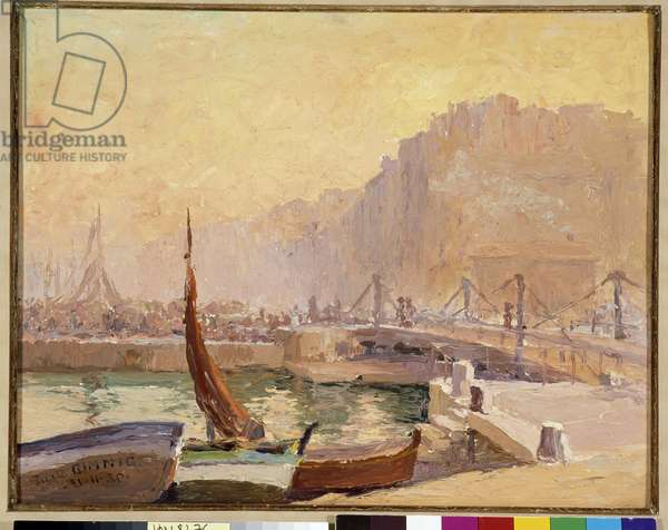 Small bridge on the canal dock in Marseille Painting by Pierre Gimnig (20th century) 1930 Mandatory mention: Collection fondation regards de Provence, Marseille DR