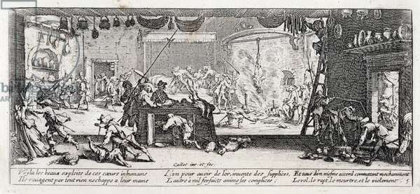 """Series """"The Miseries and the Miseries of War"""" (also called """"The Great Miseries of War"""") evoking the Thirty Year War: The Looting of a Farm. Engraving on paper by Jacques Callot (1592-1635), 1633. Dim: 8,3x18,6cm. Private Collection"""