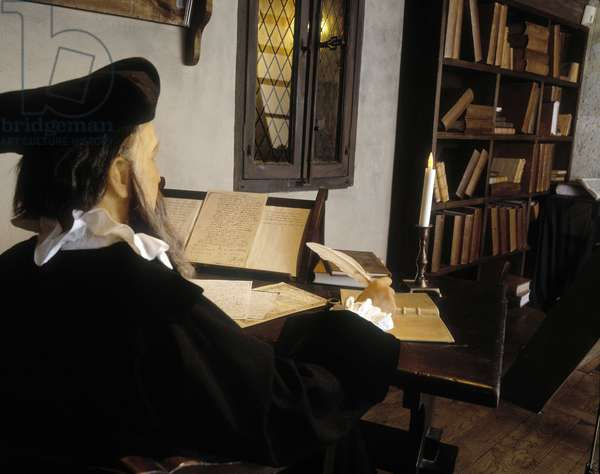 Reconstitution of Nostradamus (Michel de Nostre Dame (Nostrre-Dame or Nostredame, 1503-1566) in his office in 1555. The House of Nostradamus. Salon de Provence.
