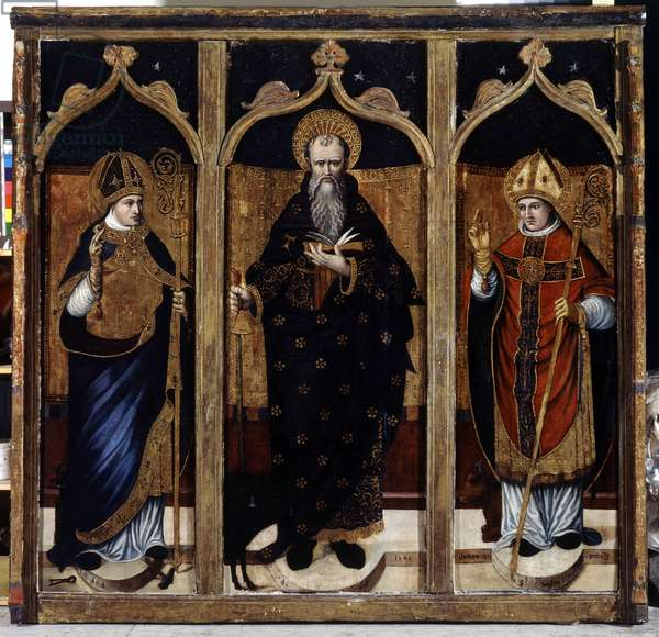 Saint Anthony the Great (or Saint Anthony the Hermit or Saint Anthony the Abbe) between Saint Eloi and Saint Pons. Altarpiece painted by Hurlupin, 1540. Oil on wood, Church of Cogolin (Var).