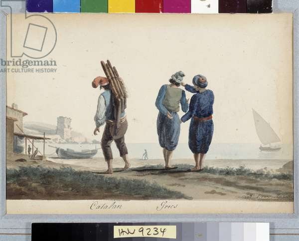 Catalans, Greeks Characters in traditional costume by the sea. Watercolour by Antoine Roux (1765-1835) 19th century Mandatory mention: Collection fondation regards de Provence, Marseille