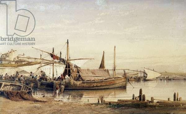The return of fishermen Watercolour by Vincent Courdouan (1810-1893) 1842 Mandatory mention: Collection fondation regards de Provence, Marseille