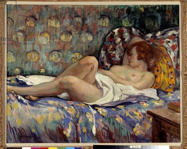 Nu Longe Painting by Henri Lebasque (1865-1937) Mandatory mention: Collection foundation regards de Provence, marseille