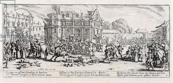 """Series """"The Miseries and the Miseries of War"""" (also called """"The Great Miseries of War"""") evoking the Thirty Year War: The Devastation of a Monastery. Engraving on paper by Jacques Callot (1592-1635), 1633. Dim: 8,3x18,7cm. Private Collection"""