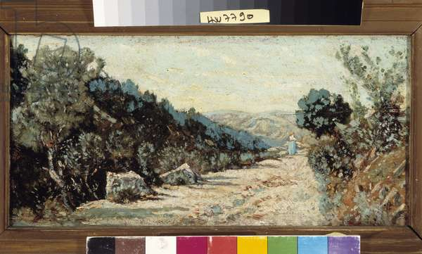 little road in the pines, 19th century (oil on canvas)