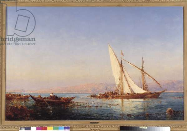 Fishing in Marseille Painting by Felix Ziem (1821-1911) 1911 Mandatory mention: Collection foundation regards de Provence, Marseille