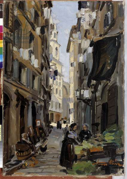 A street in the Panier district in Marseille, 20th century (oil on canvas)