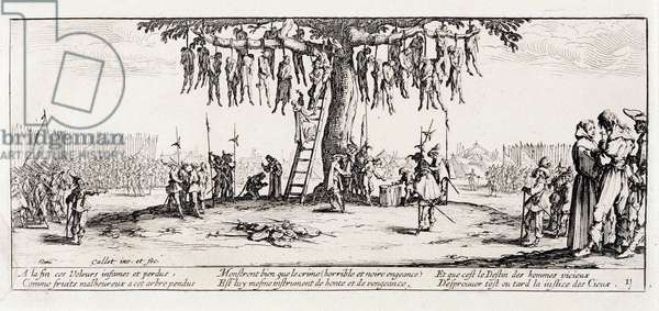 """Series """"The Miseries and the Miseries of War"""" (also called """"The Great Miseries of War"""") evoking the Thirty Year War: Hanging. Engraving on paper by Jacques Callot (1592-1635), 1633. Dim: 8,1x18,6cm. Private Collection"""