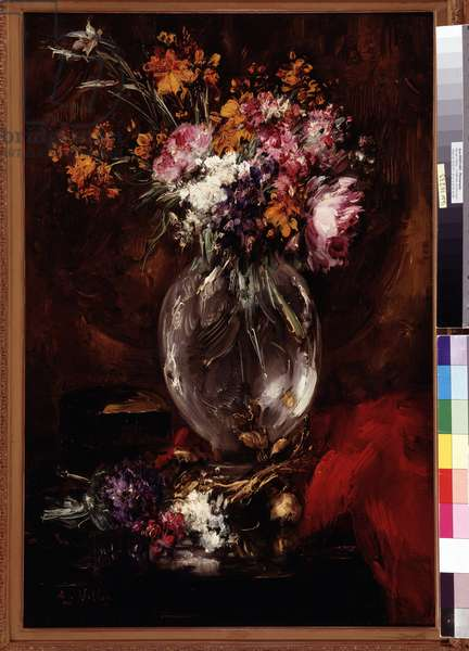 Flowers in a crystal vase Painting by Antoine Vollon (1833-1900) Dim. 49x73,5 cm. Mandatory mention: Collection fondation regards de Provence