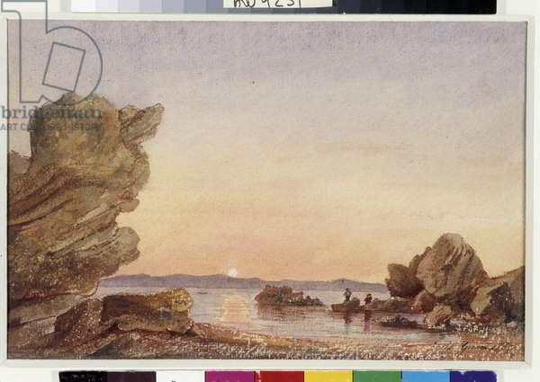 Roches de la Madrague Watercolour by Berthe Girard (19th century) 1865 Mandatory mention: Collection fondation regards de Provence, Marseille