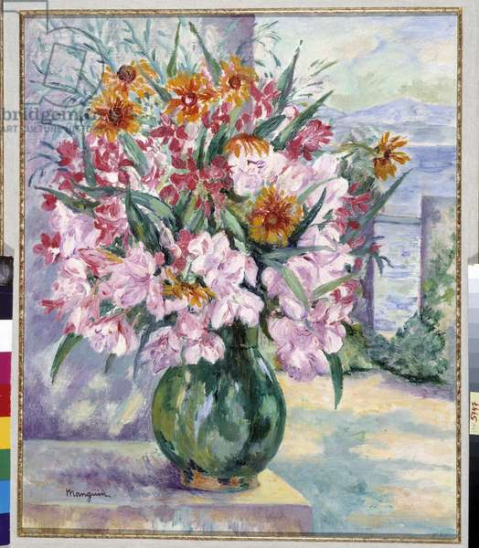Vase of flowers on terrace in front of the sea 1941 (painting)