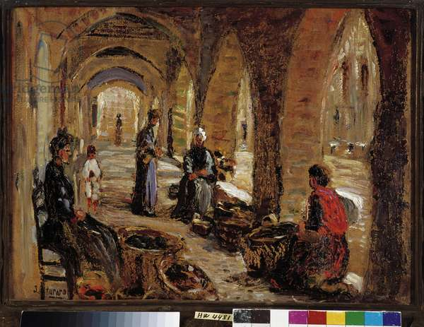 Merchants under the vaults, 20th century (oil on canvas)