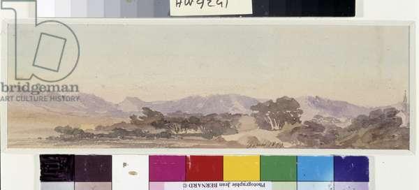 Massif de la Sainte Baume. Watercolour by Amable Louis Crapelet (1822-1867) 1859 Mandatory mention: Collection fondation regards de Provence, Marseille