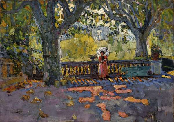 Young woman has the umbrella on the shaded terrace. Painting by Jean-Jacques Roque (Jean Jacques Roque, 1880-1926). Oil on cardboard. Dim: 46x65cm. Mandatory mention: Collection fondation regards de Provence, Marseille