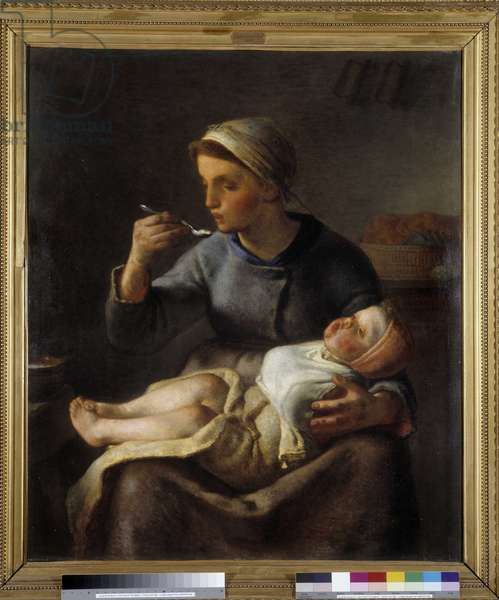 Woman making her child eat (Le porridge), 1861 (oil on canvas)