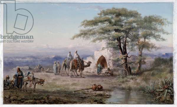 Chameliers on the banks of the well Painting a la gouache by Paul Pascal (1832-1903) 1887 Mandatory mention: Collection fondation regards de Provence, Marseille