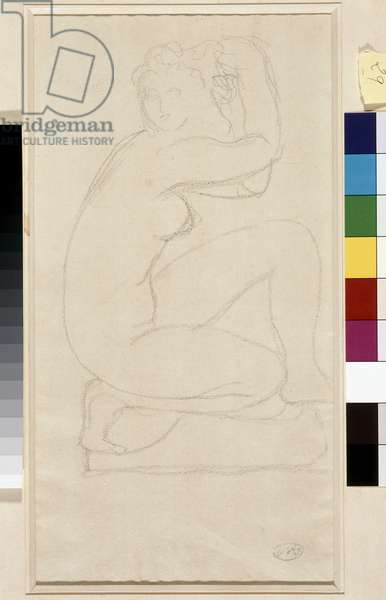 Naked hair. Drawing by Aristide Maillol (1861-1944). Lead on paper. Dim: 34x18,5cm. Musee Cantini, Marseille