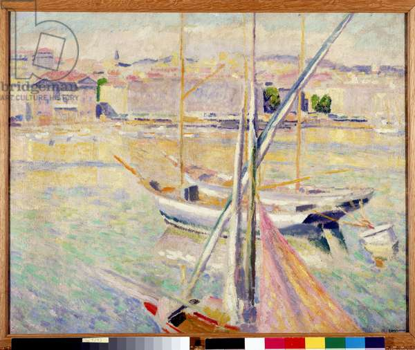 Sailboats in the Old Port of Marseille (oil on canvas)