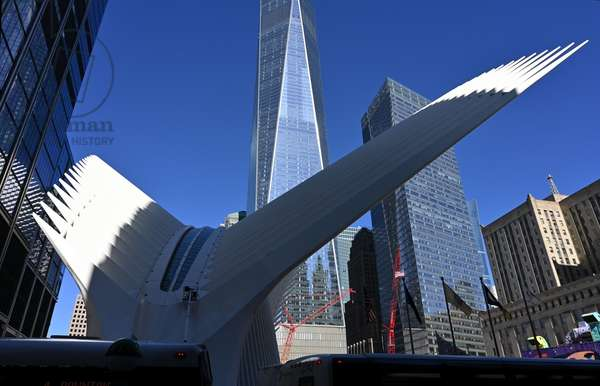 Oculus, station at the foot of One World Trade Center, detail, New York City, USA (photo)
