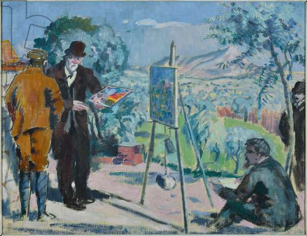 Visiting Cezanne or Cezanne painting in the countryside, Oil on Canvas