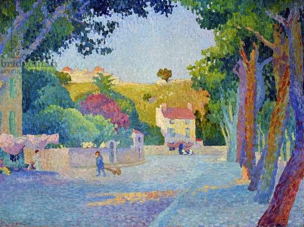 Place des Lices in Saint Tropez (Saint-Tropez). Painting by Henri Person (1876-1926). Oil on canvas. Dim: 58x77cm. Mandatory mention: Collection fondation regards de Provence, Marseille