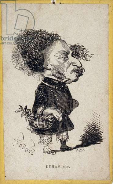 Portrait load (portrait-charge) by Alexandre Dumas Jr. (1824-1895), French writer. Cartoon by Gaspard Felix Tournachon dit Felix Nadar (1820-1910). Engraving by Diolot after the drawing by Felix Nadar.