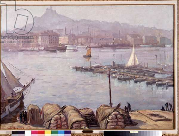 """The old port of Marseille and Notre Dame de la Garde (Notre-Dame-de-la-Garde), also called the Good Mother"""""""" Painting by Emile Bernard (1868-1941) 1929 Dim. 77,5x107 cm Mandatory mention: Collection foundation regards of Provence, Marseille"""