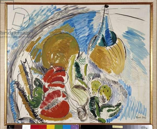 Nature morte de fruits, legumes et bouteille de vin sur une table, 1915 (oil on canvas)