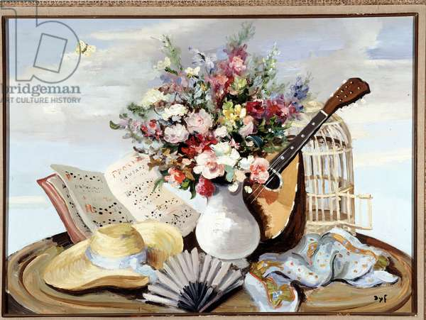 Vase of flowers, mandolins and straw hat (oil on canvas)