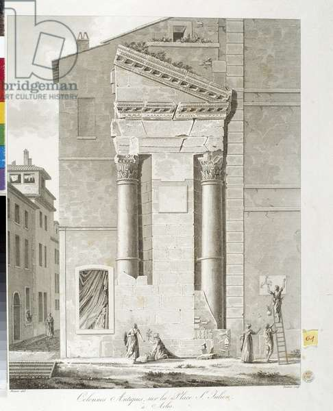 Architecture: ancient columns on the square Saint Julien in Arles. 19th century lithography, Musee Arbaud, Aix en Provence.