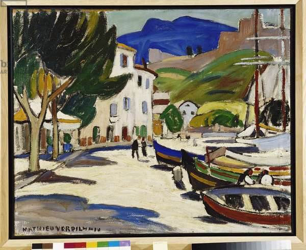Boats on the Quay a Cassis Painting by Louis Mathieu Verdilhan (1875-1928) 1908 Mandatory mention: Collection fondation regards de Provence, Marseille